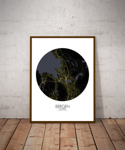Mapospheres Bergen Night round shape design poster city map