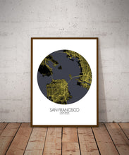 Load image into Gallery viewer, Mapospheres San Francisco Night round shape design poster city map
