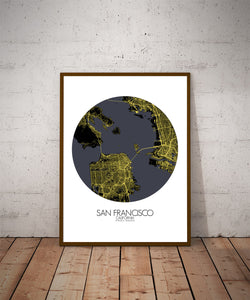 Mapospheres San Francisco Night round shape design poster city map