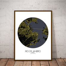 Load image into Gallery viewer, Mapospheres Rio de Janeiro Night round shape design poster city map