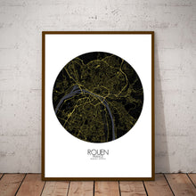 Load image into Gallery viewer, Mapospheres Rouen Night round shape design poster city map