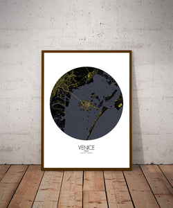 Mapospheres Venice Night round shape design poster city map