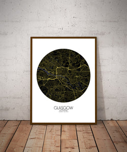Mapospheres Glasgow Night round shape design poster city map