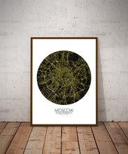 Load image into Gallery viewer, Mapospheres Moscow Night round shape design poster city map