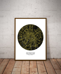 Mapospheres Moscow Night round shape design poster city map