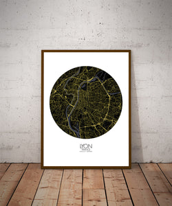 Mapospheres Lyon Night round shape design poster city map