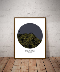 Mapospheres Edinburgh Night round shape design poster city map