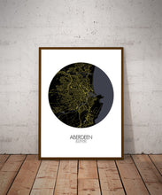 Load image into Gallery viewer, Aberdeen Night round shape design poster city map