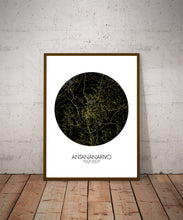 Load image into Gallery viewer, Antananarivo Night round shape design poster city map