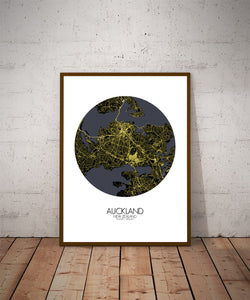 Auckland Night round shape design poster city map