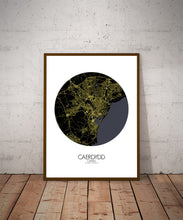 Load image into Gallery viewer, Cardiff Night round shape design poster city map
