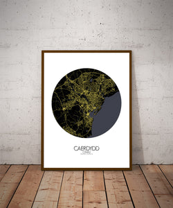 Cardiff Night round shape design poster city map
