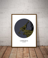 Load image into Gallery viewer, Cartagena Night round shape design poster city map