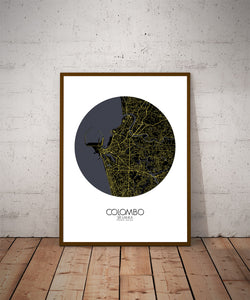 Mapospheres Colombo Night round shape design poster city map