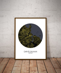 Dar Es Salaam Night round shape design poster city map