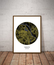 Load image into Gallery viewer, Hanoi Night round shape design poster city map