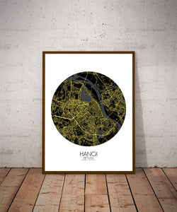 Hanoi Night round shape design poster city map