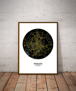 Khonkaen Night round shape design poster city map
