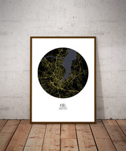 Load image into Gallery viewer, Kiel Night round shape design poster city map