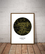 Load image into Gallery viewer, Krakow Night round shape design poster city map
