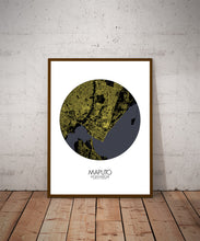 Load image into Gallery viewer, Maputo Night round shape design poster city map