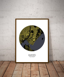 Maputo Night round shape design poster city map