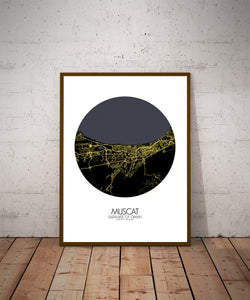 Muscat Night round shape design poster city map