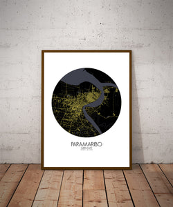 Paramaribo Night round shape design poster city map