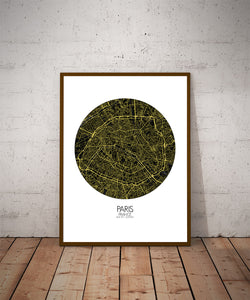 Mapospheres Paris Night round shape design poster city map