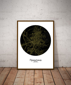 Pristina Night round shape design poster city map