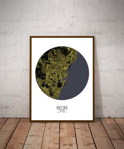 Recife Night round shape design poster city map