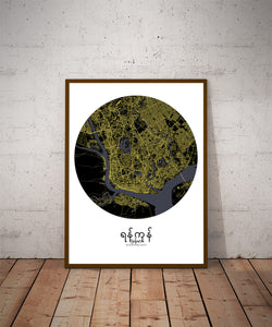 Aberdeen Night round shape design poster city map