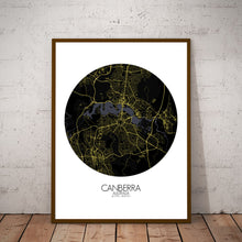 Load image into Gallery viewer, Mapospheres Canberra Night round shape design poster city map
