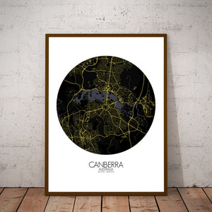 Mapospheres Canberra Night round shape design poster city map