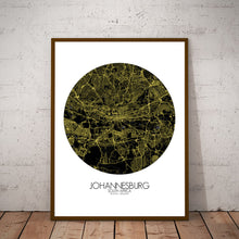 Load image into Gallery viewer, Mapospheres Johannesburg Night round shape design poster city map