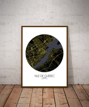 Load image into Gallery viewer, Mapospheres Quebec Night round shape design poster city map