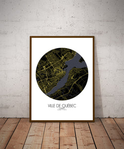 Mapospheres Quebec Night round shape design poster city map