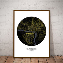 Load image into Gallery viewer, Mapospheres Bratislava Night round shape design poster city map