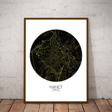 Load image into Gallery viewer, Mapospheres Nancy Night round shape design poster city map