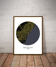 Load image into Gallery viewer, Mapospheres Barcelona Night round shape design poster city map
