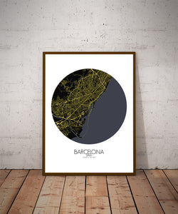 Mapospheres Barcelona Night round shape design poster city map