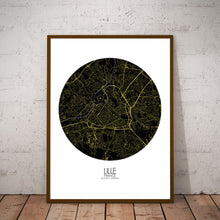 Load image into Gallery viewer, Mapospheres Lille Night round shape design poster city map