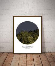 Load image into Gallery viewer, Mapospheres Casablanca Night round shape design poster city map