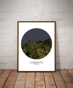 Mapospheres Casablanca Night round shape design poster city map