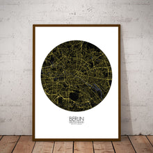 Load image into Gallery viewer, Mapospheres Montreal Night round shape design poster city map