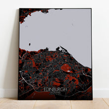 Load image into Gallery viewer, Mapospheres Edinburgh Red dark full page design poster city map