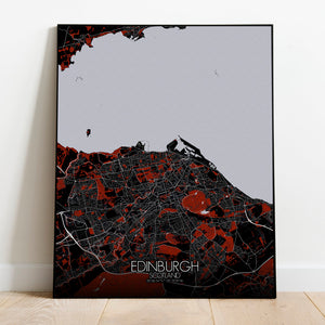 Mapospheres Edinburgh Red dark full page design poster city map