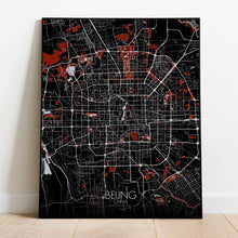 Load image into Gallery viewer, Mapospheres Beijing Red dark full page design poster city map