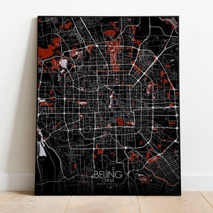 Mapospheres Beijing Red dark full page design poster city map