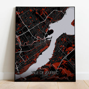Mapospheres Quebec Red dark full page design poster city map